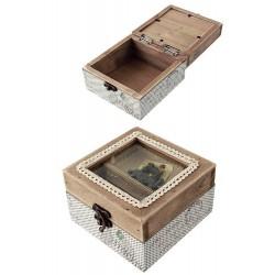 1T. Caja costura rústica madera «Máquina de coser»