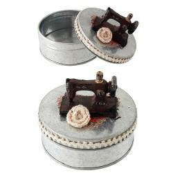 1T. Caja costura rústica metal «Máquina de coser»