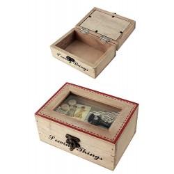 1T. Caja costura rústica madera con decoración «Máquina de coser»