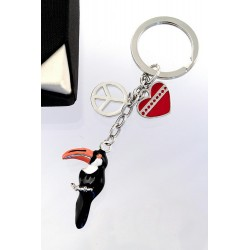 5T. Toucan metallic keychain with case