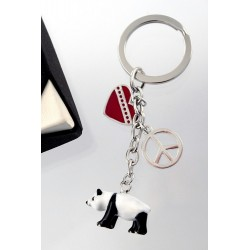 1T. Metallic panda keychain with case