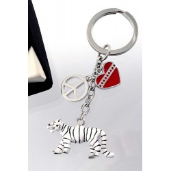 5T. Metalliec white tiger keychain with case