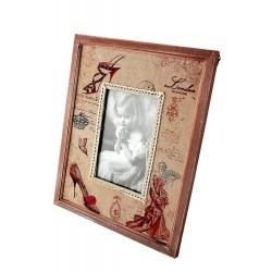 1T. Portafotos mediano de madera y tela «Zapato»