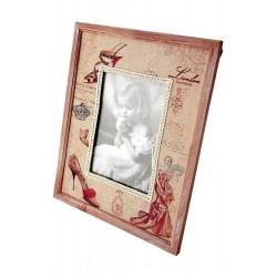 1T. Portafotos grande de madera y tela «Zapato»