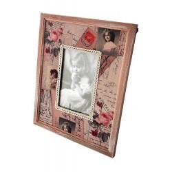 1T. Portafotos mediano de madera y tela «Niña»