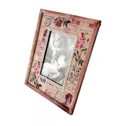 1T. Portafotos grande de madera y tela «Niña»