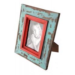 1T. Portafotos de madera azul/rojo acabado rústico