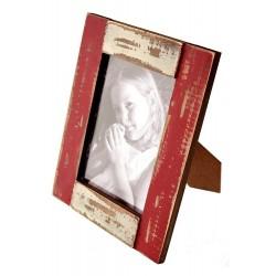 1T. Portafotos de madera rojo/blanco acabado rústico