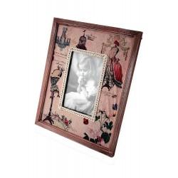 1T. Portafotos mediano madera y tela «Maniquí»