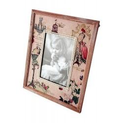 1T. Portafotos grande de madera y tela «Maniquí»