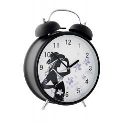 1T. Reloj despertador negro con mecanismo silencioso