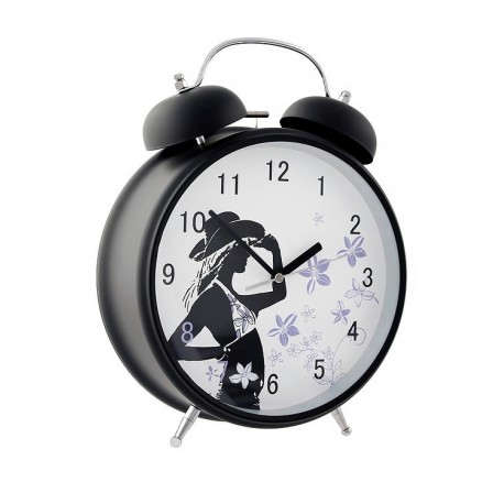 1T. Black alarm clock with silent mechanism