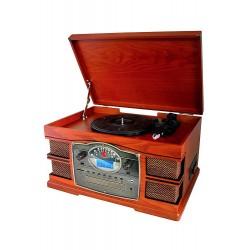 2T. Radio Cassette de madera con Cd/Tocadiscos/Usb/Sd