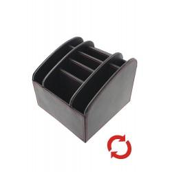 1T. Portamandos giratorio 8 cavidades en símil piel negro