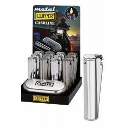4T. Expositor con 12 encendedores de metal gasolina «Clipper» con estuche de metal