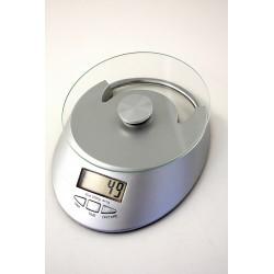 1T. Báscula de cocina plateada con bandeja de cristal