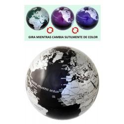1T. Bola del Mundo negra giratoria con luz