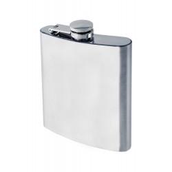 1T. 8 oz.chromed metal liquor flask plain