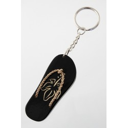5T. Wooden sandal keychain with orchid decoration