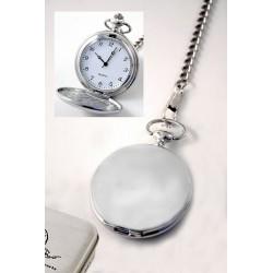 1T. Reloj de bolsillo liso brillo en estuche de metal