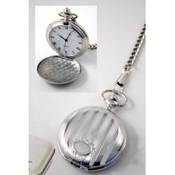 1T. Pocket watch. Vertical lines pattern. With oval lower. w/  metal case