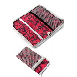 5T. Portadocumentos viaje en textil rojo/negro