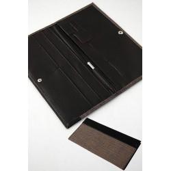 5T. Portadocumentos viaje en textil marrón/negro