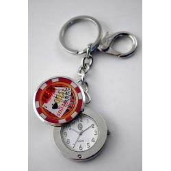 5T. Poker White/Red Mini Model Clock Mod.K415-Rd With Case 47