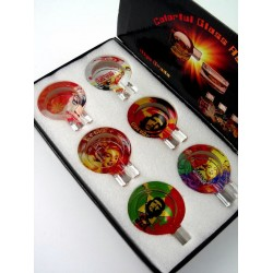 5T. Expositor con 6 ceniceros redondos de cristal con decoración surtida