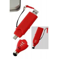 5T. USB 4 Gb + puntero táctil + micro puerto para Android «3 en 1» rojo en caja metal