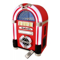 2T. Jukebox en vinilo rojo con radio/Cd/reproductor Mp3/Usb/Sd y mando a distancia.