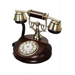 5T. Teléfono sobremesa antiguo madera con dial giratorio