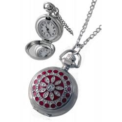 1T. Reloj de colgar de metal con decoración roja. Con caja metal 89905