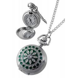 1T. Reloj de colgar decorado en verde  Con caja metal 89905
