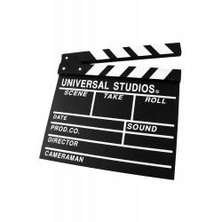 1T. Black clapperboard (slate) for film in wood