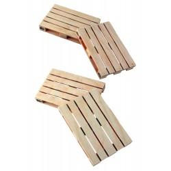 1T. Set con 4 posavasos de madera en forma de palet