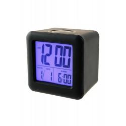 1T. Reloj despertador negro cuadrado