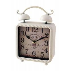 1T. Decorative clock in aged metal white