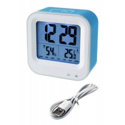 1T. Reloj despertador digital azul