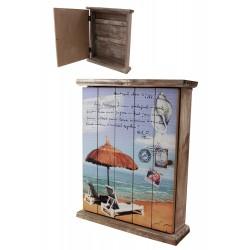 1T. Guardallaves de madera con decoración marina «Tumbonas y parasol»