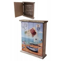 1T. Guardallaves de madera con decoración marina «Barca y caracola»
