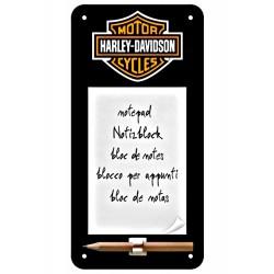 3T. «Harley Davidson» Bloc de notas negro con imán