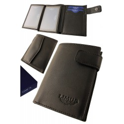 3T. Black leather wallet with purse «Limus»