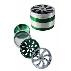 1T. Ø6,3 x x4,5 cm. Metallic grinder of 4 parts, silver/green colour