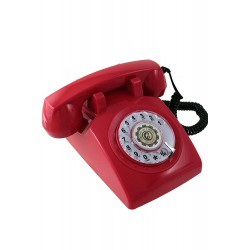 5T. Classic telephone red with rotary dial