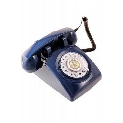 5T. Teléfono sobremesa «Classic» azul con dial giratorio