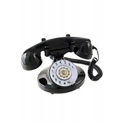 5T. Teléfono de sobremesa «Retro» negro con dial giratorio