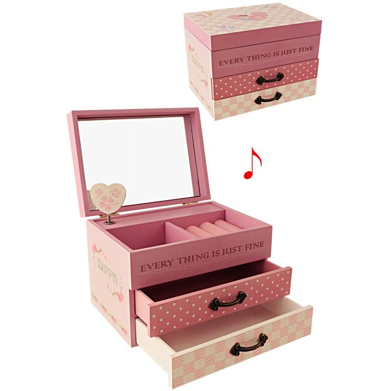 1t joyero madera con m sica 2 cajones every thing is - Joyeros musicales infantiles ...