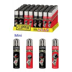 4T. Mini «Clipper» Exp. 48 encendedores «SKULLS & POKER»