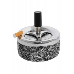 3T. Cenicero con pulsador 90mm metal hojas «Champ»